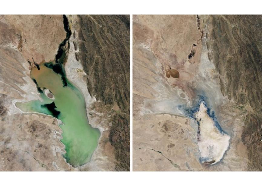 Lago Poopo verdwenen (april 2013-jan 2016 - Nasa)